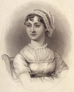 Engraving of Jane Austen. Unknown artist. 1870. Based on a sketch by Cassandra Austen. Unlicensed/Wikipedia.