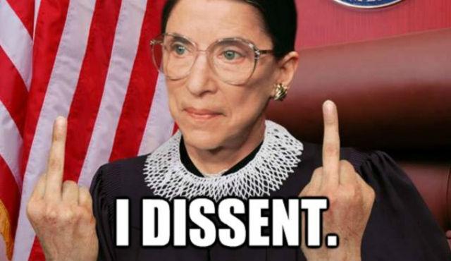 Ruth Bader Ginsburg meme. Unlicensed. Via deathandtaxesmag.com